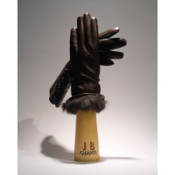 Rabbit fur Lined leather gloves with bottons