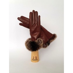 Cashmere lined leather goves with chinchillà fur cuffs