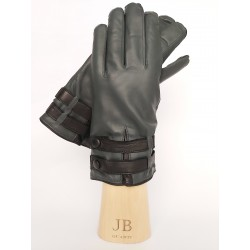 Cashmere lined leather gloves with 2 strapps