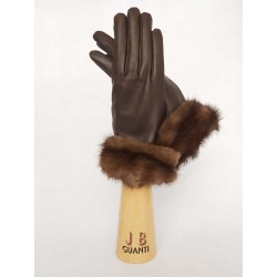 Cashmere lined leather gloves with mink fur