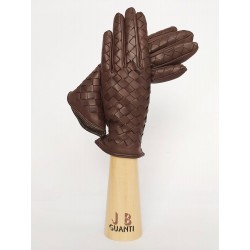 Cashmere lined interlaced leather gloves