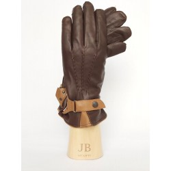 Cahmere lined leather gloves with strap