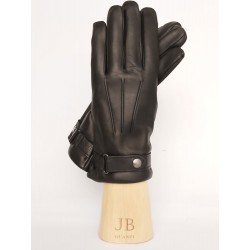 Gloves with cashmere lining and button