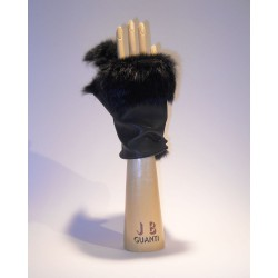Rabbit fur Lined fingerless gloves